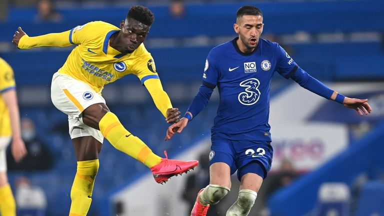 Brighton and Hove Albion's Yves Bissouma has a shot on goal vs Chelsea