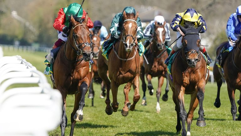 Frankie Dettori riding Waldkonig (red) win The bet365 Gordon Richards Stakes at Sandown Park Racecourse. Picture date: Friday April 23, 2020.