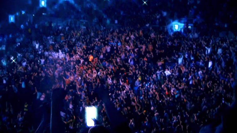 Fans return to the Premier League Darts on Night 13 in Milton Keynes