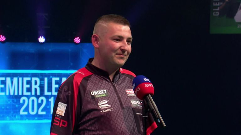 Nathan Aspinall was delighted to have the fans behind him after he beat Michael van Gerwen on Night 13 of the Premier League