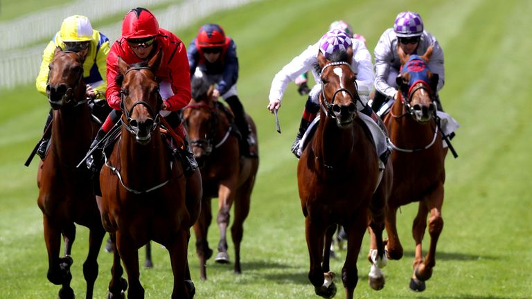 Castle Star ridden by Chris Hayes (second left) on their way to winning the GAIN Marble Hill Stakes during day one of the Tattersalls Irish Guineas Festival at Curragh racecourse. Picture date: Saturday May 22, 2021.