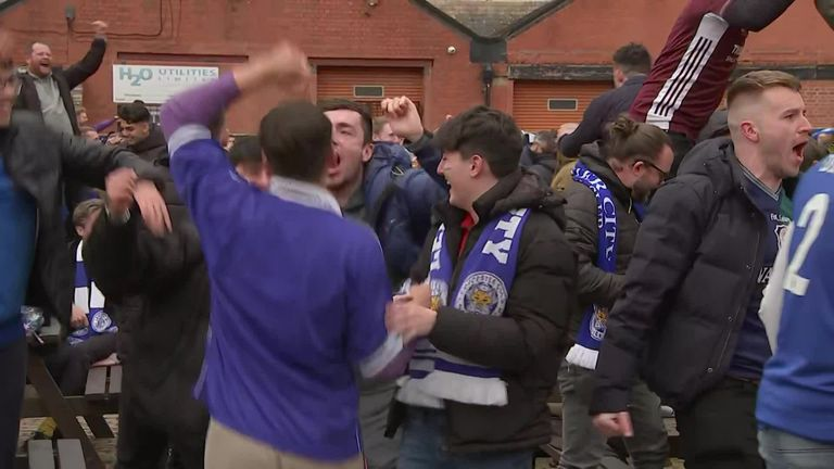 Leicester fans gathered in the city to watch their team win the FA Cup