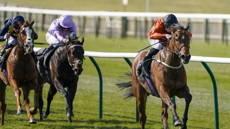 Jockey Jack Mitchell riding Double Or Bubble to victory at Newmarket