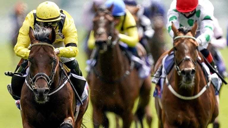 Ilaraab ridden by Tom Marquand (left) on their way to winning the Sky Bet Race To The Ebor Jorvik Handicap during day one of the Dante Festival at York Racecourse. Picture date: Wednesday May 12, 2021.