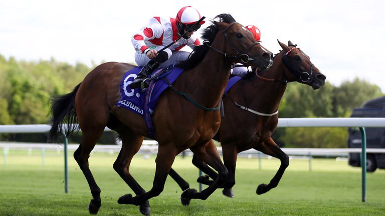 Liberty Beach ridden by jockey Jason Hart on their way to winning the Casumo Best Odds Guaranteed Temple Stakes at Haydock Park racecourse. Picture date: Saturday May 22, 2021.