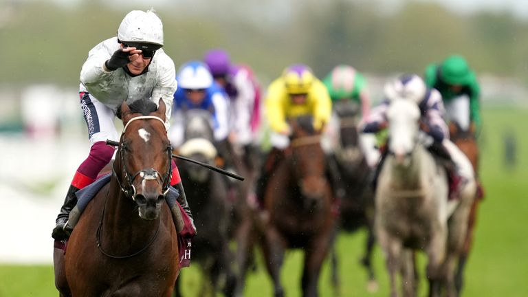 Palace Pier ridden by Frankie Dettori wins The Al Shaqab Lockinge Stakes during Al Shaqab Lockinge Day at Newbury Racecourse. Picture date: Saturday May 15, 2021.