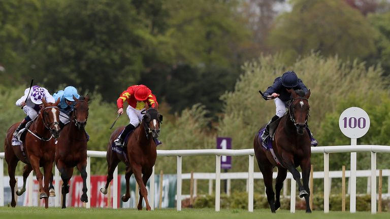 Bolshoi Ballet ridden by Ryan Lee Moore (right) on the way to winning the Derrinstown Stud Derby Trial Stakes