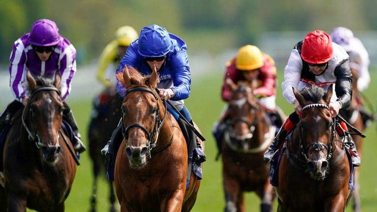 William Buick riding Hurricane Lane (blue silks) wins the Dante at York