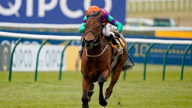 Kieran Shoemark riding Lady Bowthorpe win the Betfair Dahlia Stakes at Newmarket