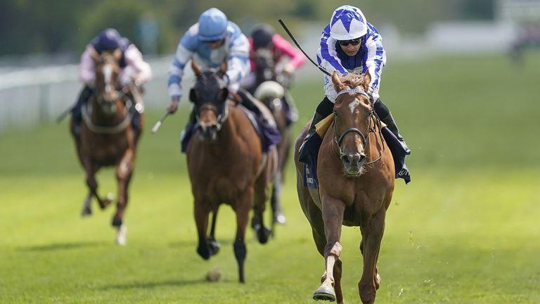Silvestre De Sousa riding Queen Power to victory at York
