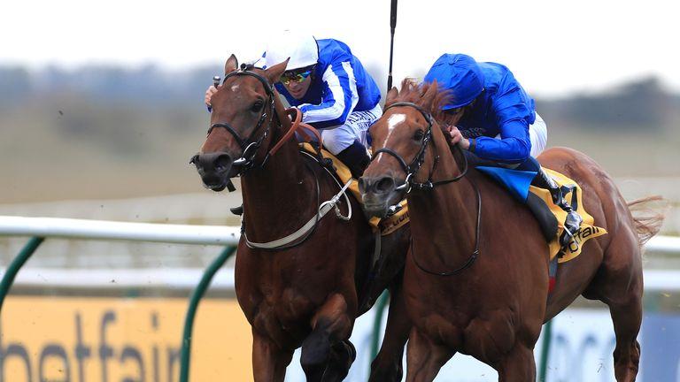 Zabeel Champion ridden by Ben Curtis (left) wins narrowly