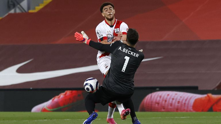 Che Adams is denied by Alisson just before Liverpool's opener