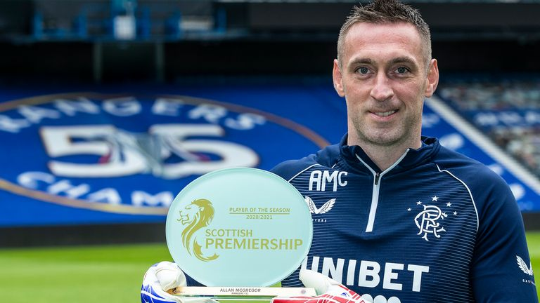 Rangers goalkeeper Allan McGregor has been named the SPFL Player of the Year.