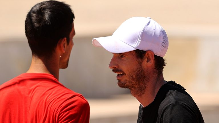 Andy Murray (right) trains with Novak Djokovic at the Foro Italico in Rome on Monday