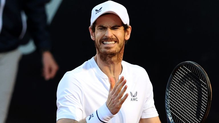 Andy Murray of Great Britain reacts to a missed point on day 5 of the Internazionali BNL d'Italia match between Max Purcell and Luke Saville, both of Australia against Liam Broady and Andy Murray, both of Great Britain at Foro Italico on May 12, 2021 in Rome, Italy.