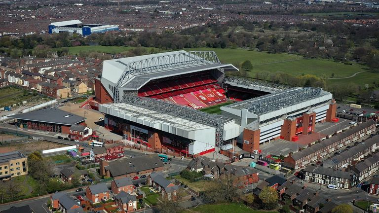 Getty - Aerial view of Anfield and Goodison Park