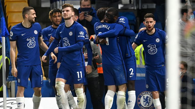 Antonio Rudiger celebrates with teammates after giving Chelsea the lead