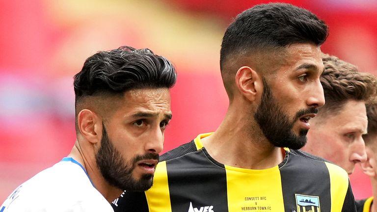 Consett's Arjun Purewal (left) and Hebburn Town's Amar Purewal during the Buildbase FA Vase 2019/20 Final at Wembley Stadium, London.