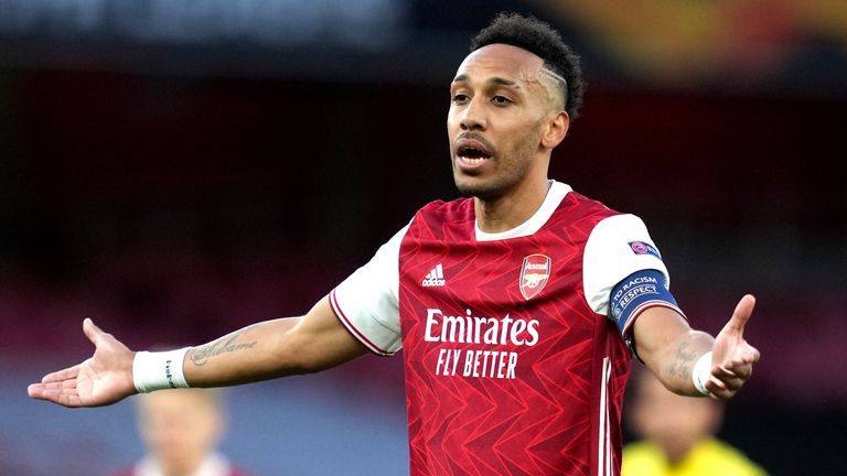 Arsenal v Villarreal - UEFA Europa League - Semi Final - Second Leg - Emirates Stadium Arsenal's Pierre-Emerick Aubameyang gestures during the UEFA Europa League Semi Final at the Emirates Stadium, London. Picture date: Thursday May 6, 2021.