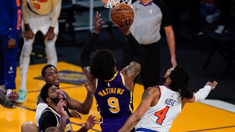 Wesley Matthews made the crucial score with less than four seconds to go as the Los Angeles Lakers forced overtime against New York.