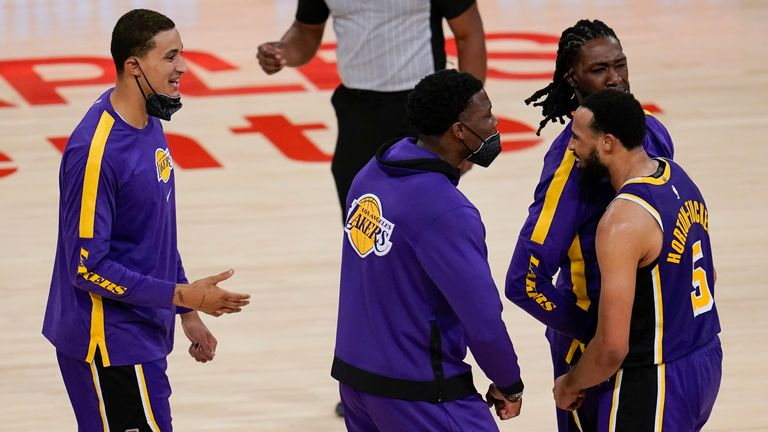 Talen Horton-Tucker scored the game-winning three-pointer in overtime as the Los Angeles Lakers saw off the New York Knicks.