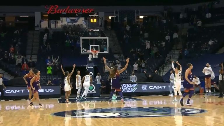 Diana Taurasi hit the crucial three-pointer in the closing stages as the Phoenix Mercury overcame the Minnesota Lynx.