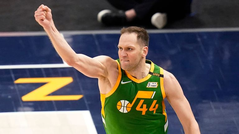 Utah Jazz forward Bojan Bogdanovic celebrates after scoring 3-pointer against the Denver Nuggets