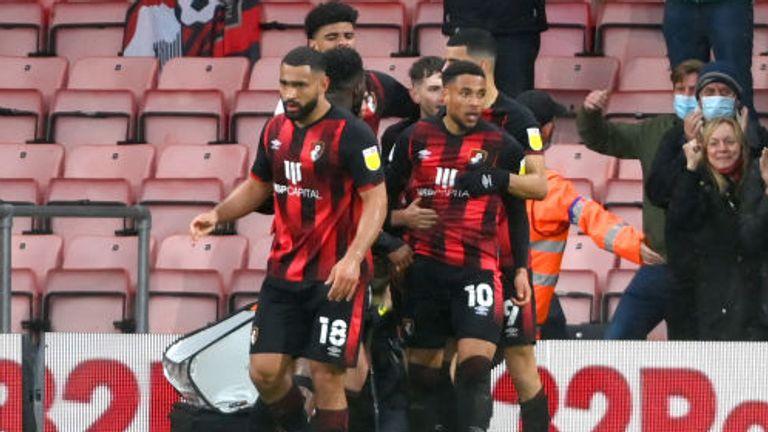 Bournemouth players celebrate Danjuma's opener