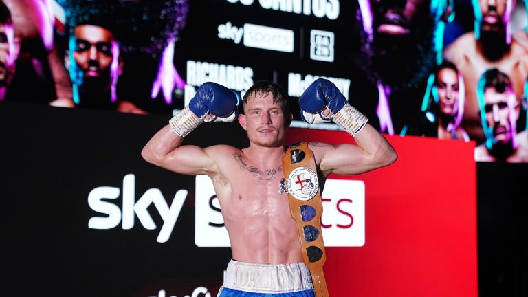 15 May 2021 Picture By Dave Thompson Matchroom Boxing Dalton Smith celebrates with his belt after his win.