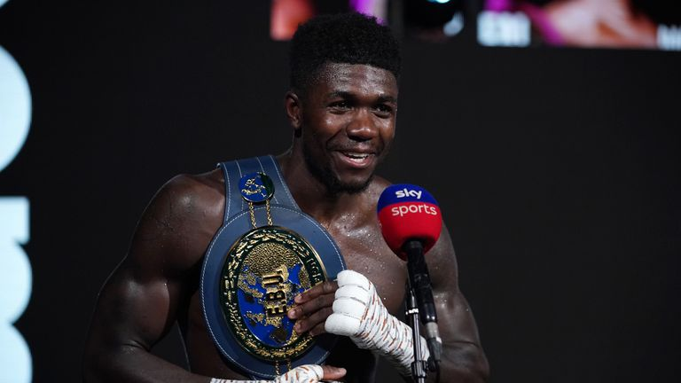 15 May 2021 Picture By Dave Thompson Matchroom Boxing. Victorious Lerrone Richards with his new belt sings during his post fight interview.
