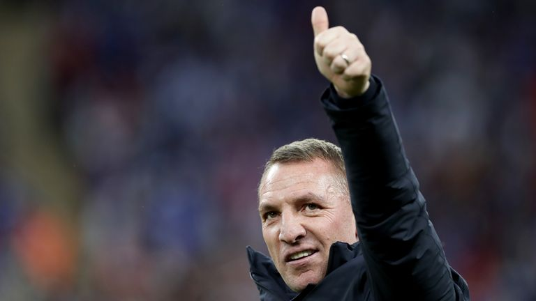 Brendan Rodgers celebrates after Leicester's victory in the FA Cup final over Chelsea