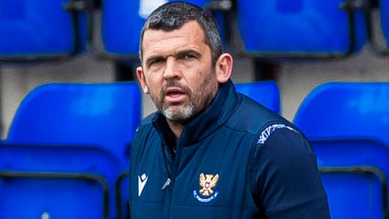 PERTH, SCOTLAND - MAY 15: St Johnstone manager Callum Davidson  during the  Scottish Premiership match between St Johnstone  and Livingston  at McDiarmid Park  on May 15, 2021, in Perth, Scotland. (Photo by Roddy Scott / SNS Group)