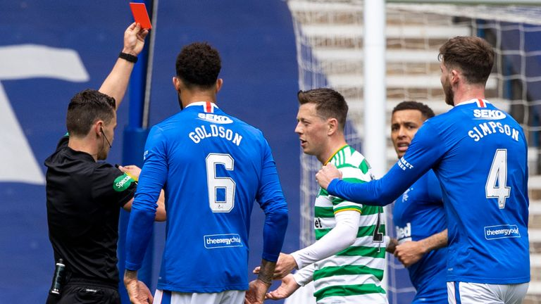 GLASGOW, SCOTLAND - MAY 02: Referee Nick Walsh shows Callum McGregor a red card during a Scottish Premiership match between Rangers and Celtic at Ibrox Park, on May 02, 2021, in Glasgow, Scotland. (Photo by Craig Williamson / SNS Group)