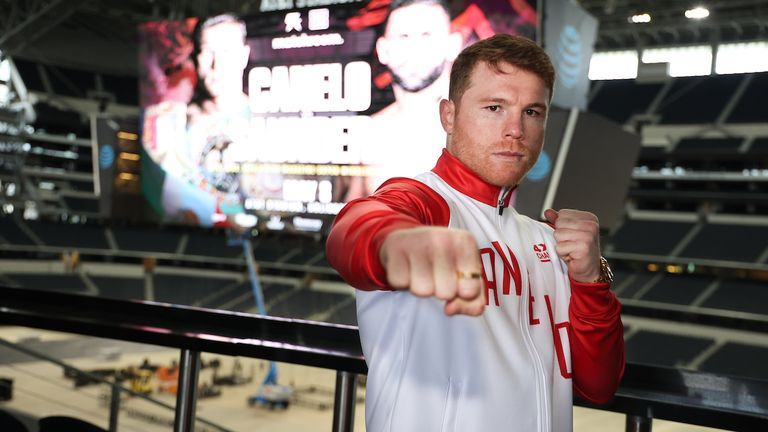 May 4, 2021; Dallas, TX; Saul ...Canelo... Alvarez tours AT&T Stadium and meets with media ahead of the Matchroom Boxing card on May 8, 2021 in Dallas. Alvarez will face Billy Joe Saunders in the main event. Mandatory Credit: Ed Mulholland/Matchroom.