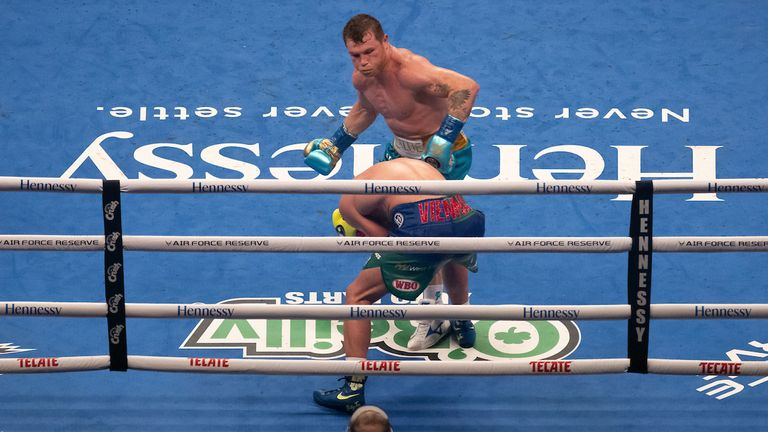 """May 8th, 2021; Arlington, TX; Saul """"Canelo"""" Alvarez fights Billy Joe Saunders in their 12 round bout for the WBC, WBA, WBO 168 lb title at AT&T Stadium on May 8th in Arlington, TX. Mandatory Credit: Michael Owens/Matchroom..."""