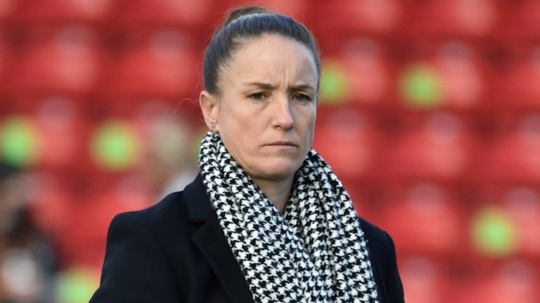 Manchester United manager Casey Stoney during the English Women's Super League soccer match between Aston Villa and Manchester United at the Bank's Stadium in Walsall, England, Saturday, Dec. 5, 2020. (AP Photo/Rui Vieira)..