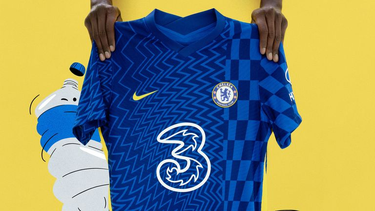 Chelsea's new home kit for 2021-22 features an 'abstract, kaleidoscopic' design. Pic: Nike
