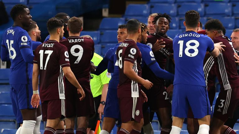 Tempers flared towards the end of Tuesday's Premier League match at Stamford Bridge