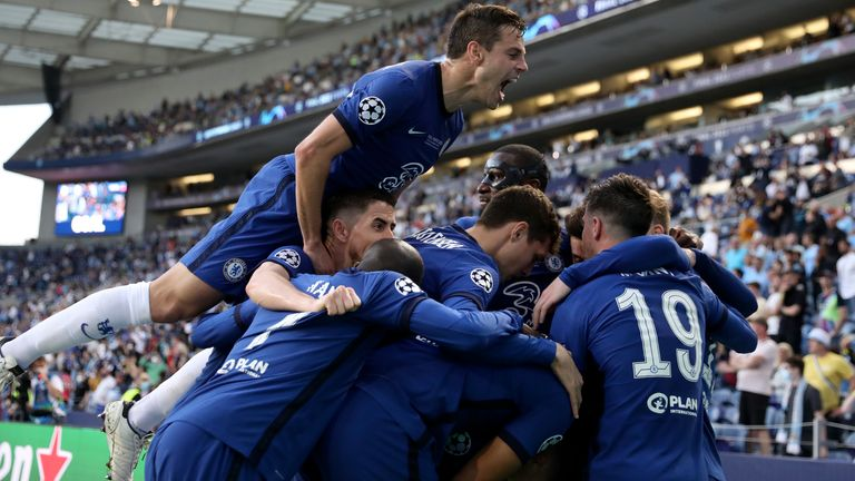 Chelsea players celebrate taking the lead against Man City in the Champions League final