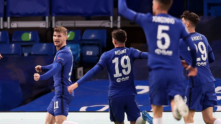 Timo Werner celebrates Chelsea's opener against Real Madrid