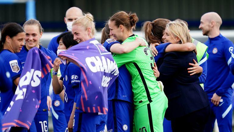 PA - Chelsea Women celebrate the WSL title