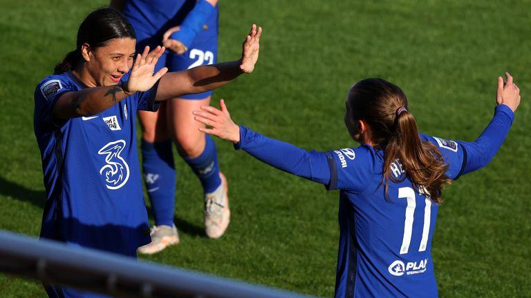Chelsea's Sam Kerr celebrates with Guro Reiten after scoring against Tottenham in WSL