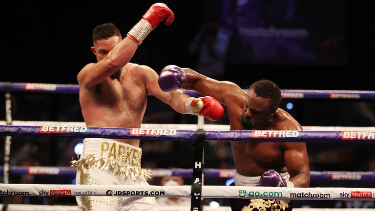 *** FREE FOR EDITORIAL USE ***.Derek Chisora vs Joseph Parker, Heavyweight Contest..1 May 2021.Picture By Mark Robinson Matchroom Boxing..