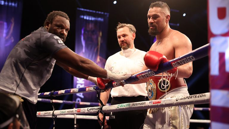 *** FREE FOR EDITORIAL USE ***.Derek Chisora vs Joseph Parker, Heavyweight Contest..2 May 2021.Picture By Mark Robinson Matchroom Boxing..End of the contest.  The fighters talk.
