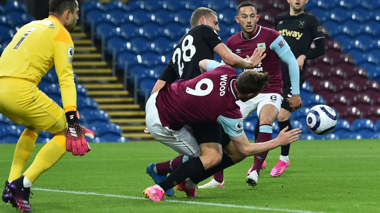 Tomas Soucek's foul on Chris Wood handed Burnley an early penalty