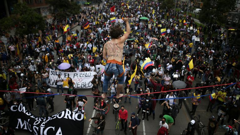 Aerial shot of Colombia Protests (AP)