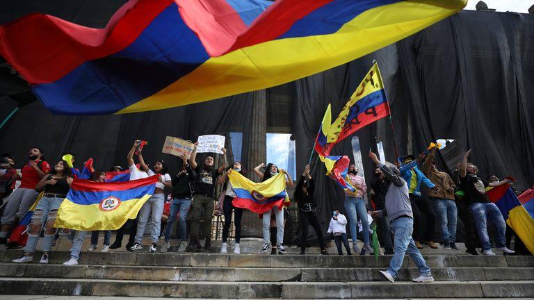 AP - Anti-government protestors in Colombia