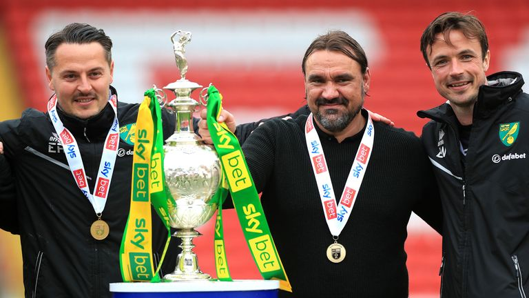Norwich City manager Daniel Farke with the Sky Bet Championship trophy