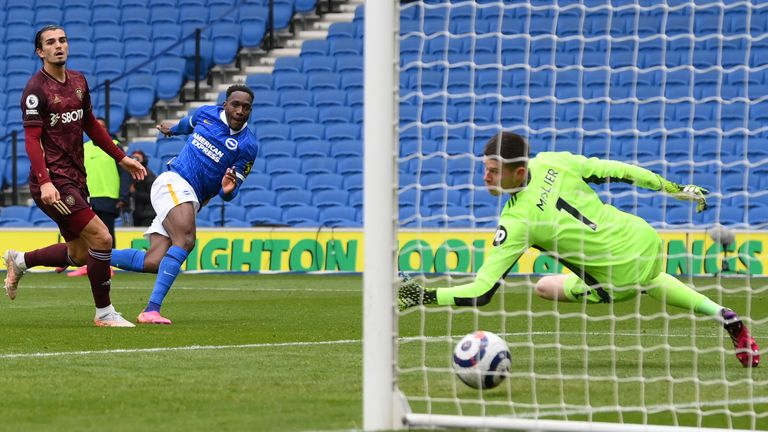 Danny Welbeck scores Brighton's second goal of the game