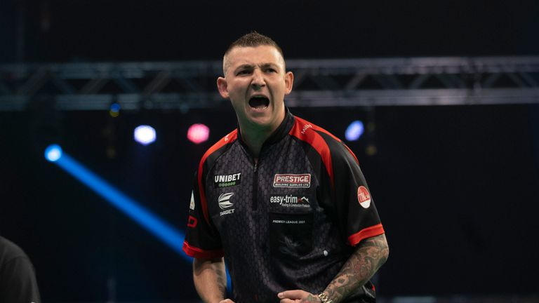 Nathan Aspinall on Night 10 of the Premier League against Peter Wright